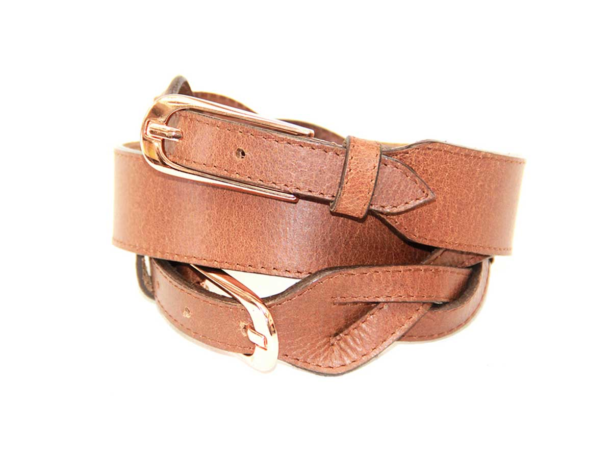 13 Cinturón en Cuero Trenzado Doble Hebilla