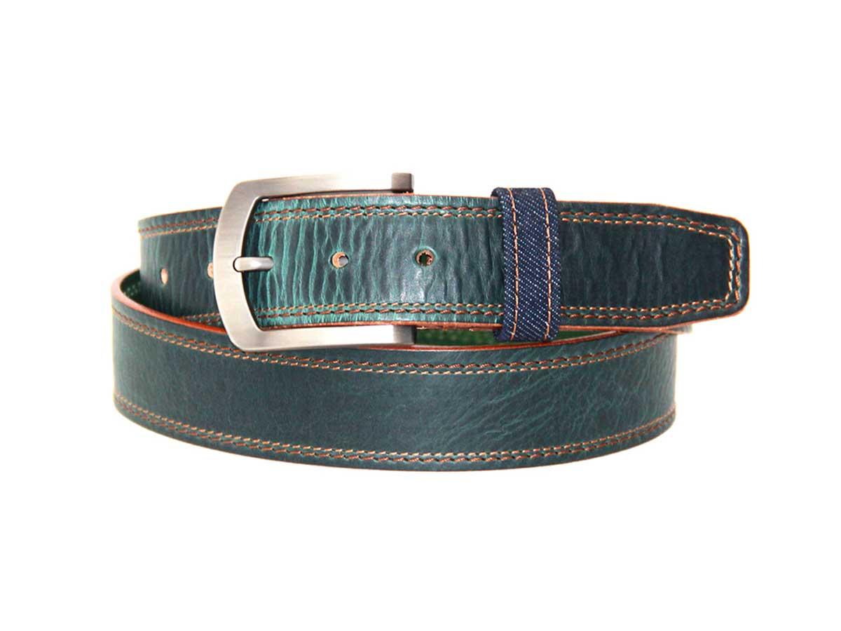 20 Cinturón en Cuero Doble Costura y Detalle Denim